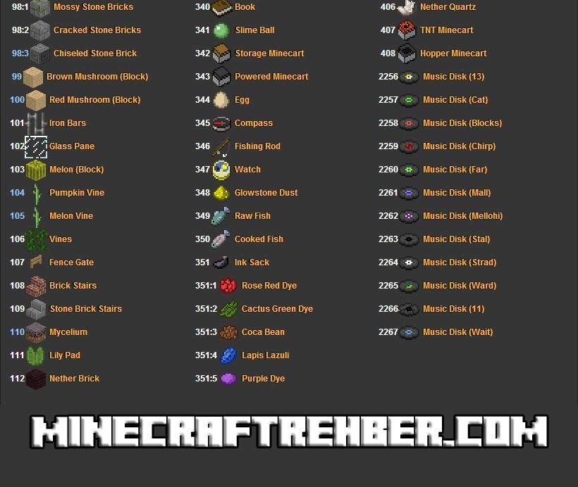 Minecraft Eşya Kodları - 4